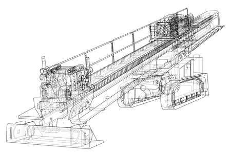 Horizontal directional drilling machine vector illustration.