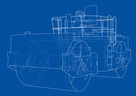 Asphalt compactor outlined vector isolated on plain background