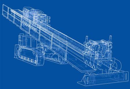 Horizontal directional drilling machine vector Illustration