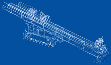 Horizontal directional drilling machine vector Vectores