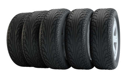 Car tires in row, isolated Stock Photo