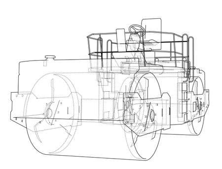 Asphalt compactor outlined Illustration
