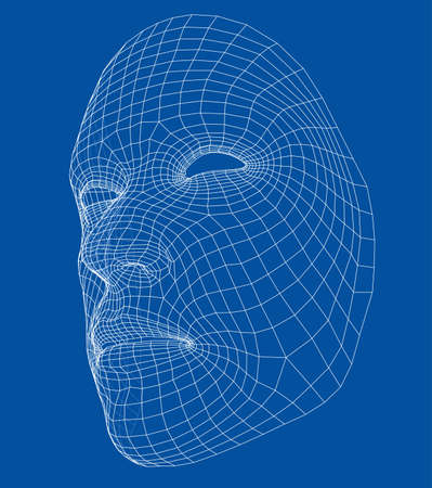 Wire-frame abstract human face isolated on blue background