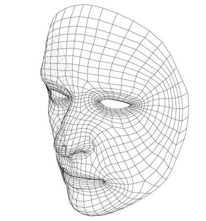 Draadframe abstract menselijk gezicht dat op witte achtergrond wordt geïsoleerd Stockfoto - 99372329