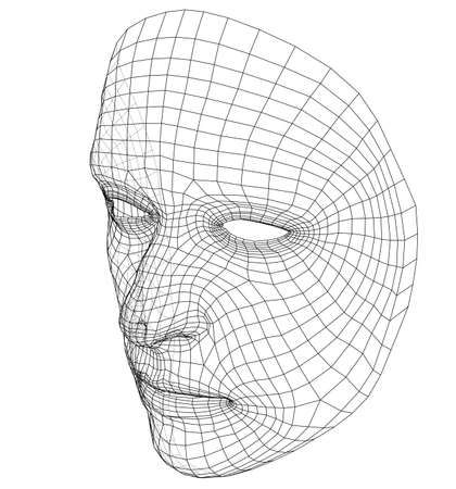 Wire-frame abstract human face isolated on white background