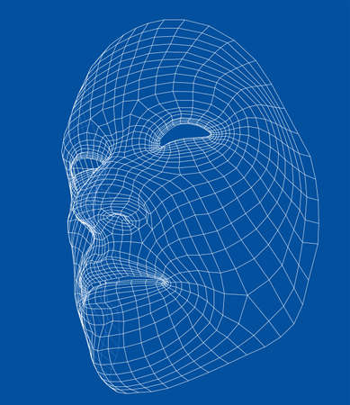 Wire-frame abstract human face. Concept of 3d Face recognition. Vector illustration rendering of 3d