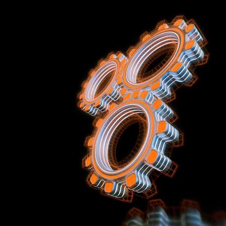 Glowing three digital gears Stock Photo