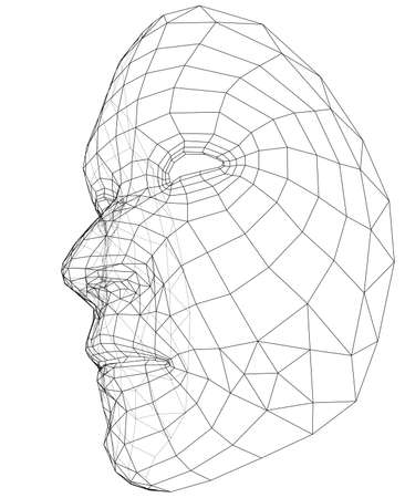 Outline abstract human face illustration