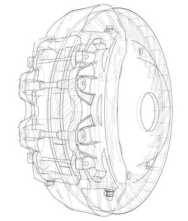Car Brake Disc outline 일러스트