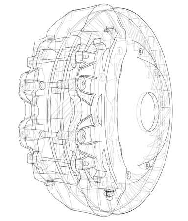 Car Brake Disc outline Vectores