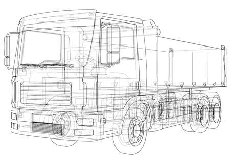 European truck outlined vector rendering of 3d. The layers of visible and invisible lines are separated Illustration