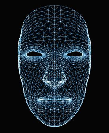 Human face consisting of luminous lines Stock Photo