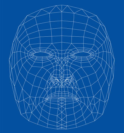 Wire frame abstract human face.