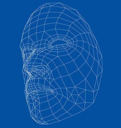 Drahtrahmen abstrakte menschliche Gesicht