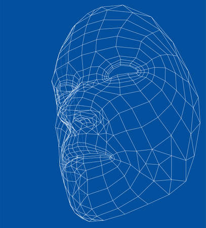 Wire-frame abstract human face on blue background. Illustration