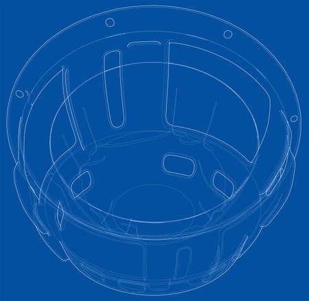 Outline subwoofer speaker vector Illustration