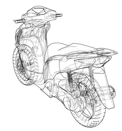 Scooter outline concept. Vector rendering of 3d. Wire-frame style. The layers of visible and invisible lines are separated
