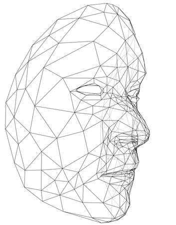 Wire-frame abstract human face vector illustration.