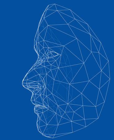Wire-frame abstract human face illustration. Stock Illustratie