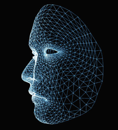 Human face consisting of luminous lines Stock Photo