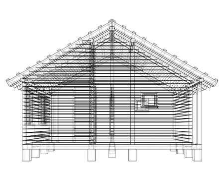 Bath house project Vector 3d rendering Illustration