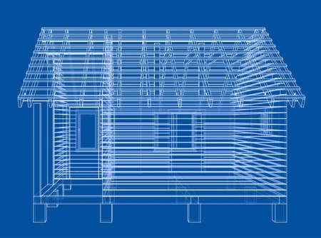 Bath house project 3d. Vector