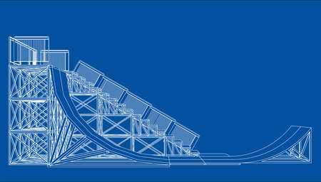 Ramp concept outline. Vector rendering of 3d. Wire-frame style. The layers of visible and invisible lines are separated