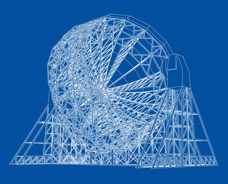 Radio Telescope concept outline. Rear view. Vector rendering of 3d. Wire-frame style. The layers of visible and invisible lines are separated Illustration