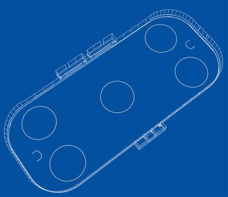 Ice hockey area outline on blue background. Vector illustration.