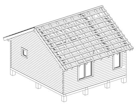 Bath house project. Vector rendering of 3d. Wire-frame style. The layers of visible and invisible lines are separated
