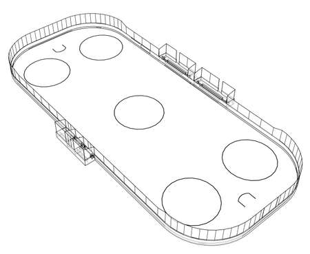 Ice hockey area outline. Vector rendering of 3d. Wire-frame style. The layers of visible and invisible lines are separated Illustration