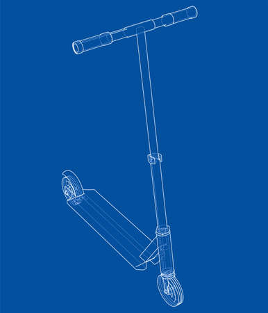 Kick scooter outline. Vector rendering of 3d. Wire-frame style. The layers of visible and invisible lines are separated
