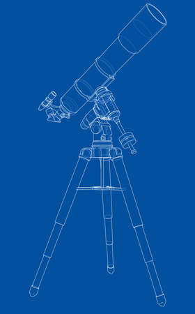 Telescope concept outline. Vector rendering of 3d. Wire-frame style. The layers of visible and invisible lines are separated