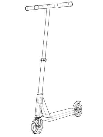 Kick scooter outline vector illustration