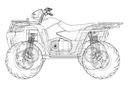 ATV quadbike concept outline. Vector rendering of 3d. Wire-frame style. The layers of visible and invisible lines are separated Vetores