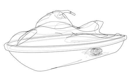 Jet ski sketch. Illusztráció