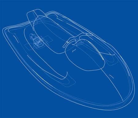 Jet ski sketch. Illustration