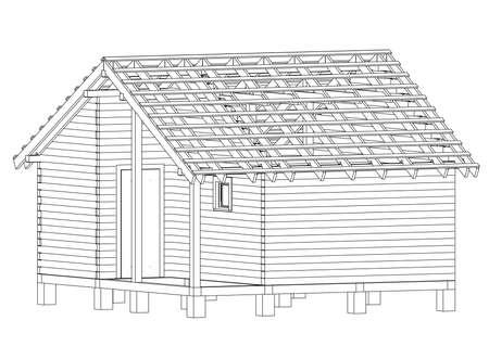 Bath house project. Vector Illustration