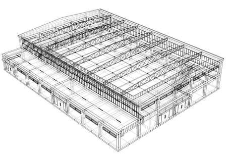 Warehouse sketch on white background. Vector illustration.