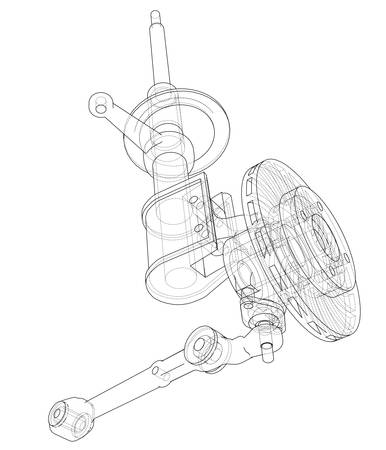 Car dampers with brake disc outline. Vector