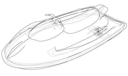 Jet ski sketch. Vector