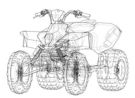 ATV quadbike concept outline. Vector rendering of 3d. Wire-frame style. The layers of visible and invisible lines are separated Illustration