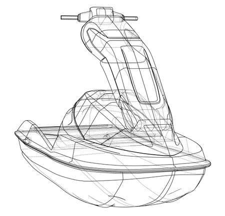 Jet ski sketch. Vector rendering of 3d. Wire-frame style. The layers of visible and invisible lines are separated