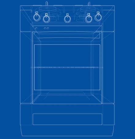 Gas stove concept. Vector
