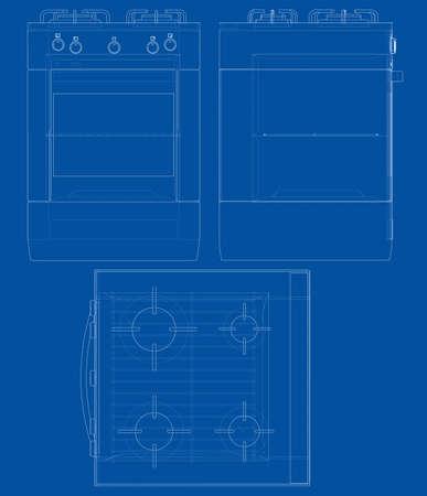 Gas stove concept. Vector Vectores