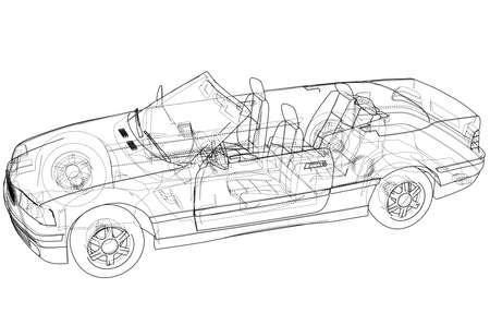 Koncepcja samochodu kabriolet. Wektor Ilustracje wektorowe
