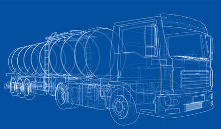 Truck with tank concept. Vector rendering of 3d. Wire-frame style. The layers of visible and invisible lines are separated