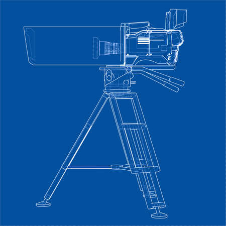 Movie-cinema camera concept. Vector rendering of 3d. Wire-frame style. The layers of visible and invisible lines are separated Illustration