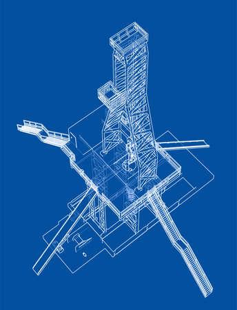Ölbohrinsel-Konzept. Vektorwiedergabe von 3d. Drahtrahmenstil. Die Ebenen der sichtbaren und unsichtbaren Linien werden getrennt