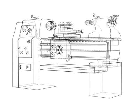 Lathe concept. Vector rendering of 3d. Wire-frame style. The layers of visible and invisible lines are separated